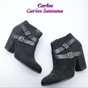 Carlos Black Western ankle bootie Double buckle 10